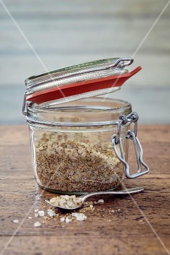 Spicy salt in a preserving jar