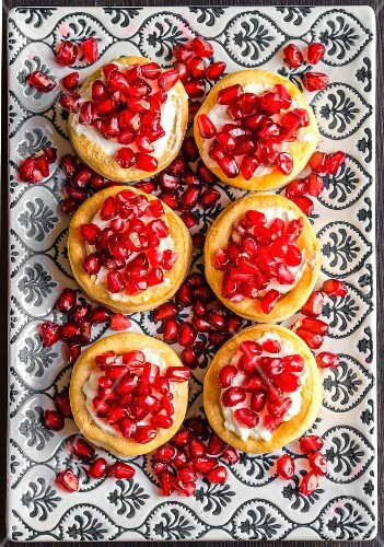 Vol au vents with cream cheese and pomegranate seeds