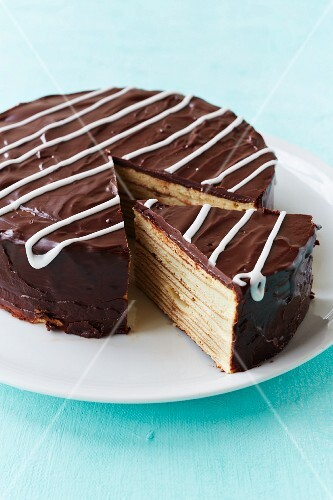 Chocolate layer cake, sliced