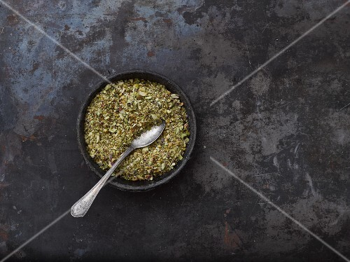Chopped pistachios in a bowl