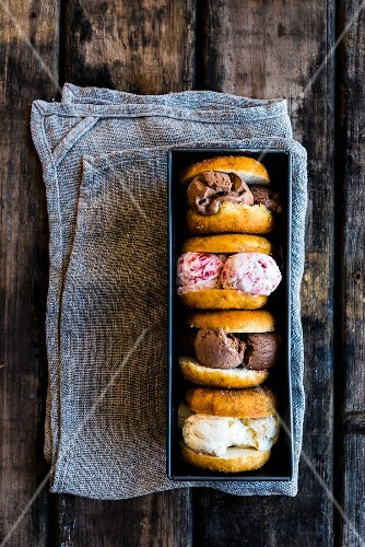 Doughnut ice cream sandwiches in a loaf tin