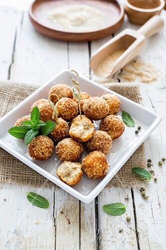 Tuna balls coated in breadcrumbs