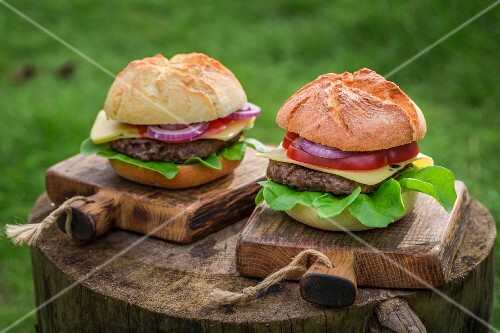 Two homemade hamburgers with fresh vegetables