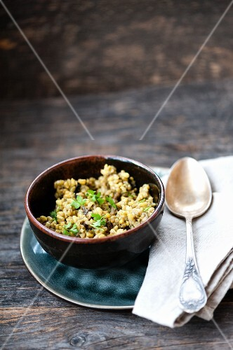 Risotto with turmeric and mushrooms