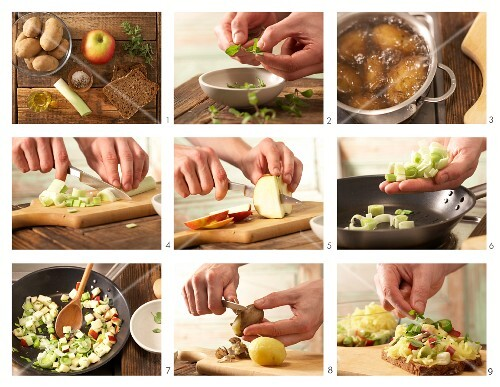 How to prepare bread topped with apple, marjoram and leek