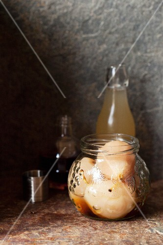Poached pears in amaretto