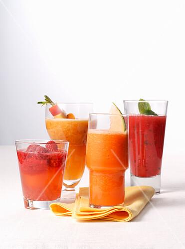 Various fruit smoothies
