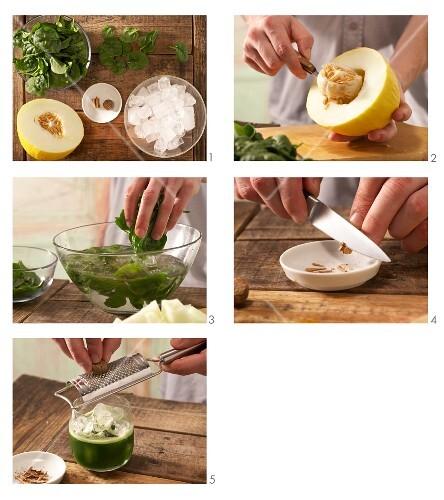 Melonen-Spinatsaft mit Zimt zubereiten
