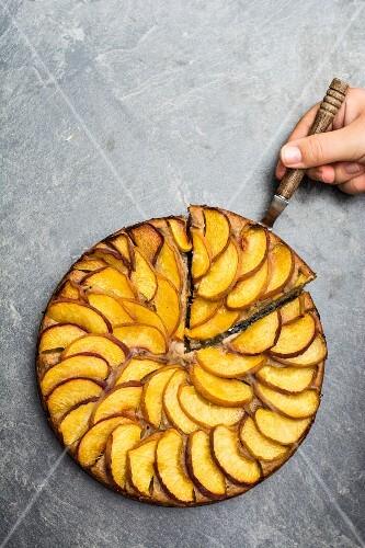 Gluten-free nectarine cake (seen from above)