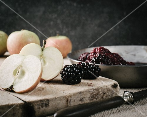 Cox apples with a bowl of blackberry compote