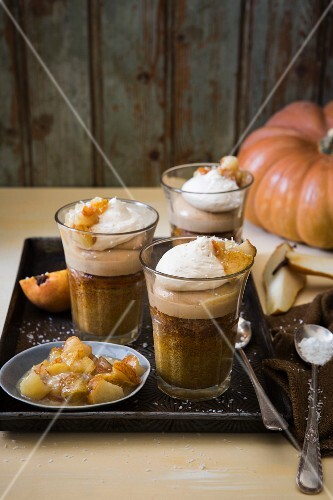 Winter pumpkin and pear trifle with rooibos and vanilla custard