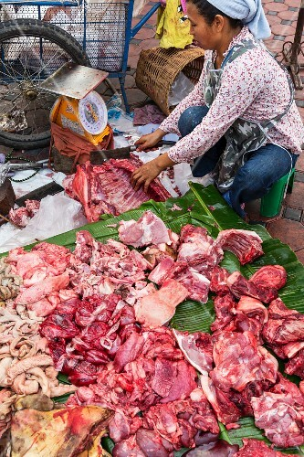Wild boar meat being sold in Chiang Mai, Thailand