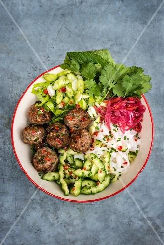 Vietnamese pork meatballs with vegetable salad
