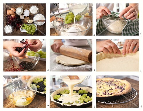 How to prepare a quark cake with grapes and elderberries