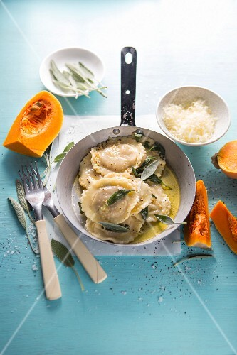 Butternut squash and ricotta ravioli with garlic and sage butter