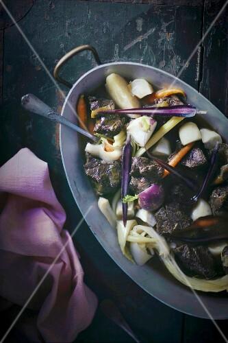 Pot Au Feu Eintopf Mit Rindfleisch Und Gemüse Frankreich Bild