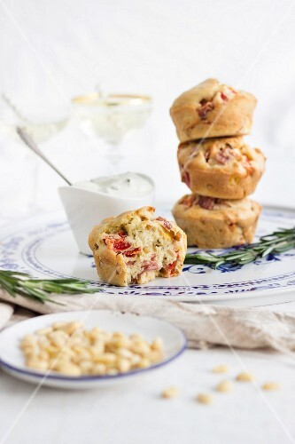 Savoury muffins with salami, red peppers, sweetcorn and pine nuts