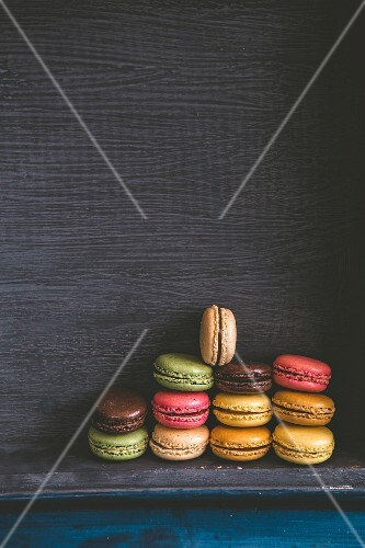Pile of different flavoured macaroons