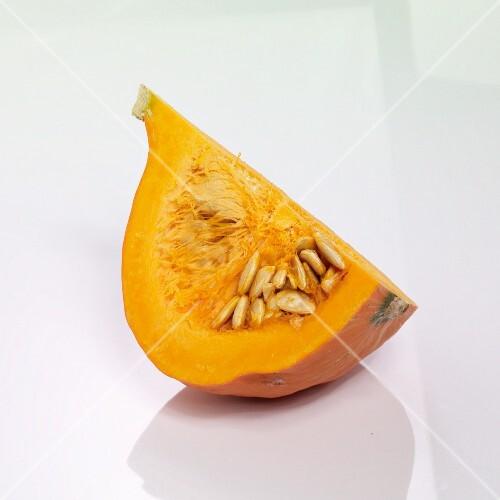 A quarter of a Hokkaido pumpkin