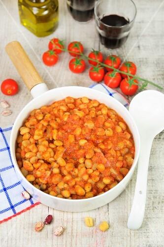 Pisarei e fasoi (traditional Italian pasta with borlotti beans)