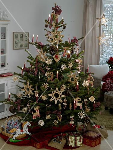 altdeutscher weihnachtsbaum mit strohsternen bild kaufen friedrich strauss gartenbildagentur. Black Bedroom Furniture Sets. Home Design Ideas
