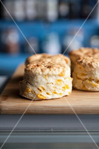 Scones on a wooden board