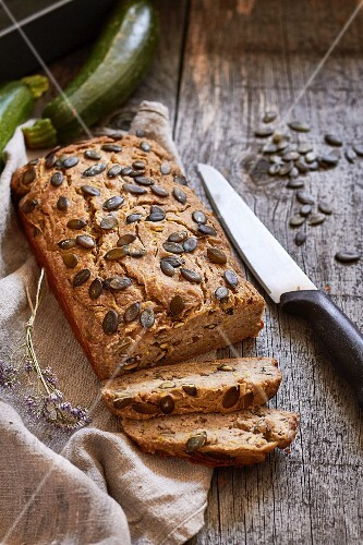 Vegan courgette and banana bread with pumpkin seeds