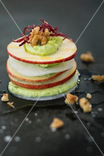 Layered Waldorf salad
