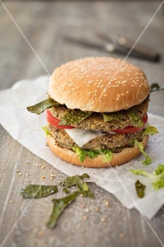 Quinoa burger with algae bacon and goat gouda