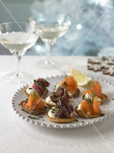 Smoked Salmon and Beef Belini Canapes