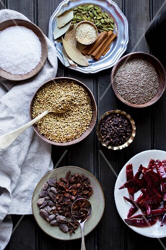 Indian spices in bowls