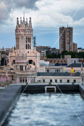 The view of the Palacio de Cibeles from 'The Balcony' rooftop bar at