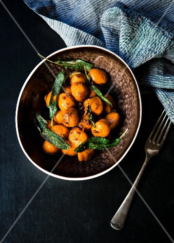 Homemade sweet potato gnocchi tossed in a sage and garlic butter
