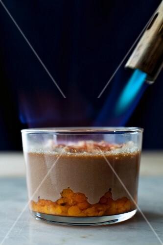 Schokoladencreme mit Moltebeeren karamellisieren