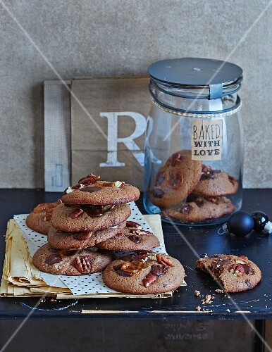 Quick and easy chocolate and pecan nut cookies with cherries for Christmas