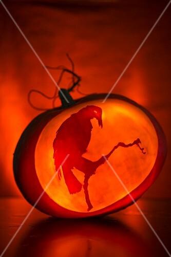 Pumpkin carving step shot