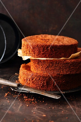 Chocolate sponge bases for multi-layered cakes