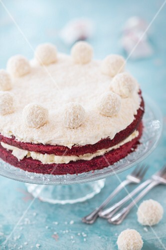 Red velvet cake with coconut chocolates