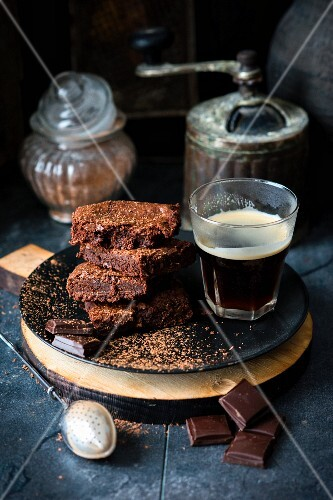 Chocolate brownies with a glass of coffee