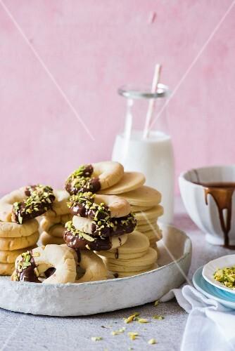 Orange blossom pistachio chocolate cookies