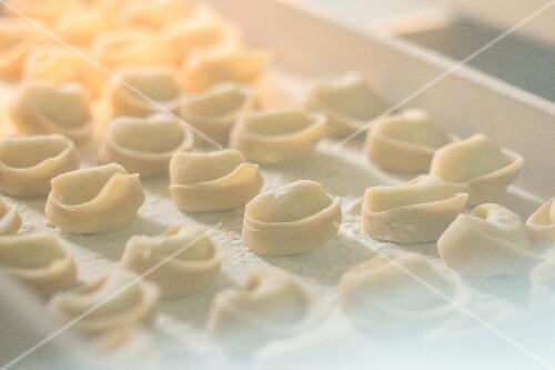 Fresh eggs and semolina handmade tortellini stuffed with ricotta and nuts behind a window