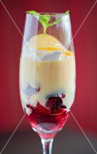 Trifle in a wine glass dessert from a fine dining restaurant