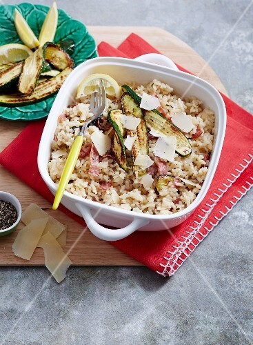 Italian Baked Salami and Zucchini Risotto