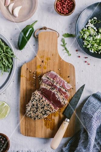 A piece of Sesame Crusted Seared Tuna