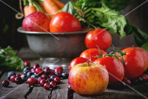 Assortment of fresh fruits, vegetables and berries