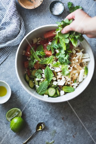 A watermelon jicama cotija salad