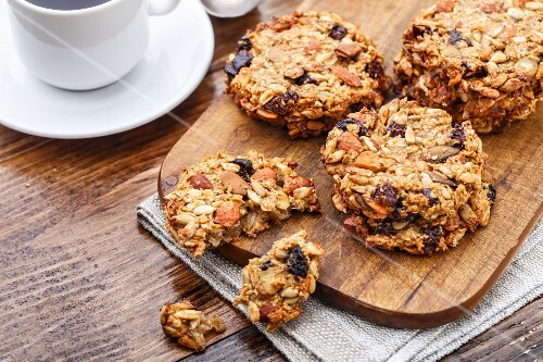 Homemade oatmeal cookies with seeds, nuts and raisin