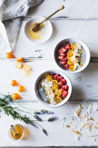 Chia pudding breakfast bowls with kumquats, berries and lavender honey, Gluten-free, dairy-free