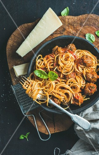 Spaghetti and Meatballs with Fresh Basil and Parmesan Cheese