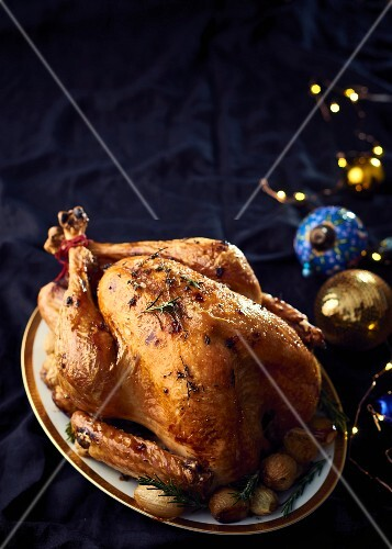 Bacon, sage and gingerbread stuffed turkey roast for Christmas